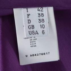 Alberta Ferretti Purple Silk Embellished Sleeveless Dress M