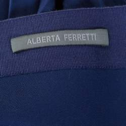Alberta Ferretti Navy Blue Accordion Pleated Skirt M