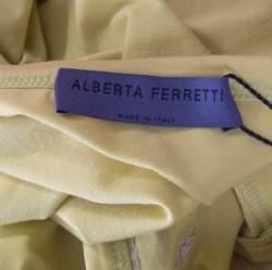 Alberta Ferretti Yellow Paisley Printed Cotton Sequin Detail Top L