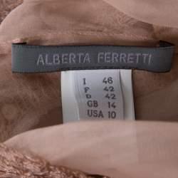 Alberta Ferretti Blush Pink Silk Chiffon Lace Detail Dress L