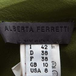 Alberta Ferretti Olive Green Silk Pleated Sleeve Detail Button Front Blouse M
