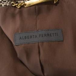 Alberta Ferretti Brown Tweed Short Blazer and Knee Length Skirt Set S