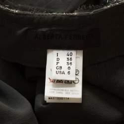 Alberta Ferretti Grey Silk Sequin Embellished Pleated Midi Skirt S
