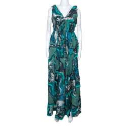 Alberta Ferretti Green Lurex Jacquard Fringed Detail Gown M