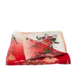 Alexander McQueen Ombre Red Botanical Print Silk Scarf