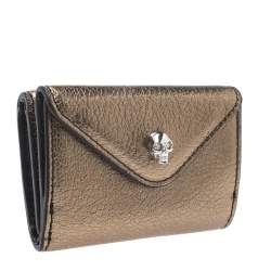 Alexander McQueen Gold Leather Mini Skull Trifold Wallet