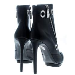 Alexander McQueen Black Leather Eyelet Detail Ankle Boots Size 40