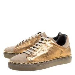 Alexander McQueen Dull Gold Crackled Gold Leather And Suede Zip Detail Sneakers Size 40