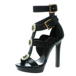 Alexander McQueen Black Leather French Gloss Platform Strappy Sandals Size 38.5