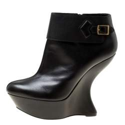 Alexander McQueen Black Leather Curve Wedge Platform Ankle Boots Size 40