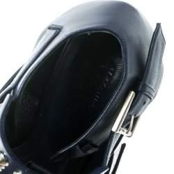 Alexander McQueen Blue Leather Stud Embellished Buckle Detail Platform Sandals Size 40