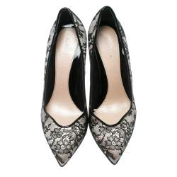 Alexander McQueen Black Lace With Blush Pink Satin Pointed Toe Pumps Size 38.5