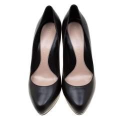 Alexander McQueen Black Leather Horn Heel Platform Pumps Size 40