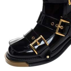 Alexander McQueen Black Patent Leather Buckle Detail Rose Heel Ankle Boots Size 40