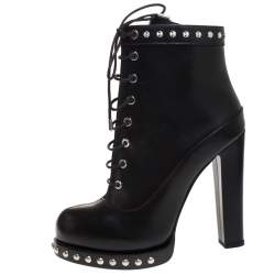 Alexander McQueen Black Leather Studded Ankle Boots Size 39.5