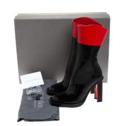 Alexander McQueen Black/Red Patent Leather Hybrid Mid Calf Boots Size 36