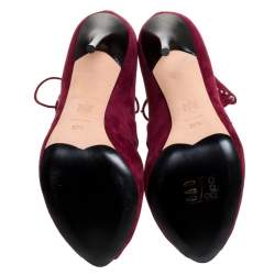 Alexander McQueen Burgundy Cutout Suede Studded Lace Up Booties Size 37.5