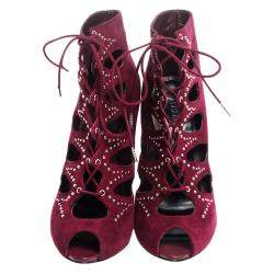 Alexander McQueen Burgundy Cutout Suede Studded Lace Up Booties Size 38