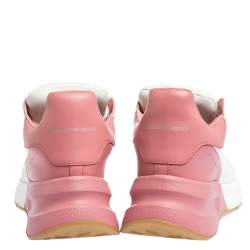 Alexander McQueen White/Pink Leather And Mesh Oversized Runner Low Top Sneakers Size 40.5