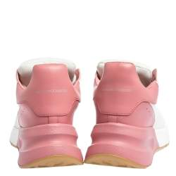 Alexander McQueen White/Pink Leather And Mesh Oversized Runner Low Top Sneakers Size 40