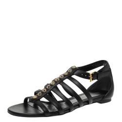 Alexander McQueen Black Leather Spike Detail Flat Gladiator Sandals Size 37.5