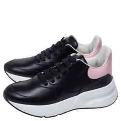 Alexander McQueen Black/Pink Leather Larry Low Top Sneakers Size 41