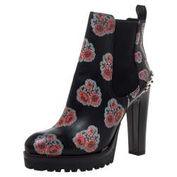 Alexander McQueen Black Floral Print Leather Chelsea Studded Heels Ankle Boots Size 39