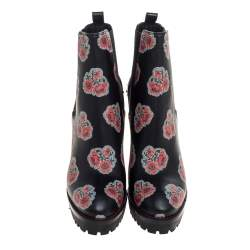 Alexander McQueen Black Floral Print Leather Chelsea Studded Heels Ankle Boots Size 40