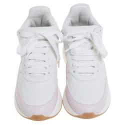 Alexander McQueen White/Pink Leather Oversized Runner Low Top Sneakers Size 37
