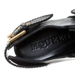 Alexander McQueen Black Leather Buckle Booties Size 40