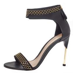 Alexander McQueen Black Leather Chain Embellished Ankle Strap Sandals Size 41