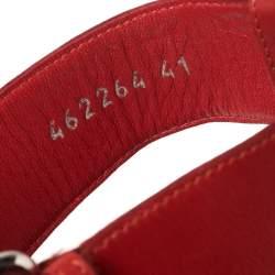 Alexander McQueen Red Leather Buckle Strappy Platform Sandals Size 41