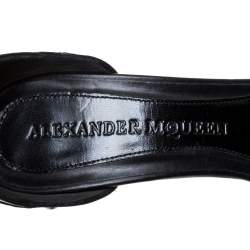 Alexander McQueen Black Studded Leather Ankle Strap Sandals Size 39.5