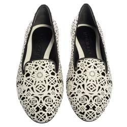 Alexander McQueen White Leather Monochrome Laser Cut Smoking Slippers Size 39