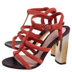 Alexander McQueen Red Suede Block Heel Strappy Sandals Size 36