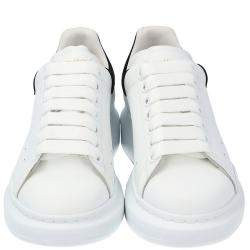Alexander McQueen White/Black Leather Oversized Sneakers Size EU 39