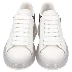 Alexander McQueen White/Black Leather Oversized Clear sole Sneakers Size EU 36