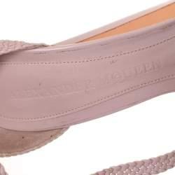 Alexander McQueen Pink Woven Leather T-Bar Ankle Strap Platform Sandals Size 37