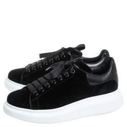 Alexander McQueen Black Velvet Oversized Low Top Sneakers Size 40