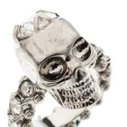 Alexander McQueen Skull Crystal Embedded Silver Tone Ring Size 51
