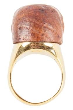 Alexander McQueen Brown Wooden Skull Crystal Studded Gold Tone Ring Size 53