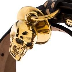 Alexander McQueen Snakeskin Leather Gold Tone Skull Charm Wrap Bracelet