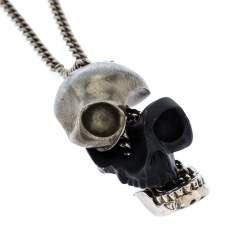 Alexander McQueen Matte Black & Antique Silver Tone Divided Skull Pendant Necklace