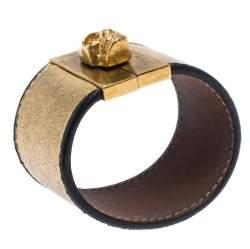 Alexander McQueen Gated Skull Gold Tone Leather Wide Bracelet
