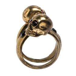 McQ by Alexander McQueen Double Crystal Skull Wrap Gold Tone Ring EU 53