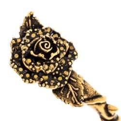 Alexander McQueen Crystal English Rose & Thorn Textured Gold Tone Open Cuff Bracelet M