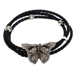 Alexander McQueen Crystal Butterfly Charm Black Braided Leather Layered Bracelet