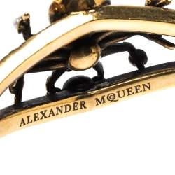 Alexander McQueen Crystal Faux Pearl Gold Tone Spider Open Cuff Bracelet S