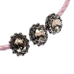 Alexander McQueen Heart Charm Friendship Crystal Lavender Braided Leather Adjustable Bracelet