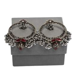 Alexander McQueen Creole Crystal Embellished Metallic Sphere Hoop Earrings